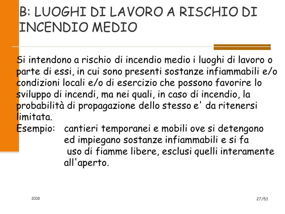 2008 27/53 B: LUOGHI DI LAVORO A RISCHIO DI INCENDIO MEDIO Si intendono a rischio di incendio medio i luoghi di lavoro o parte di essi, in cui sono pr