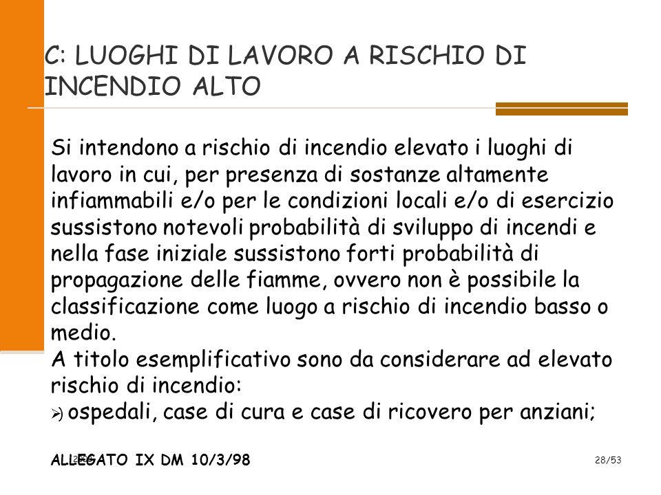 2008 28/53 C: LUOGHI DI LAVORO A RISCHIO DI INCENDIO ALTO Si intendono a rischio di incendio elevato i luoghi di lavoro in cui, per presenza di sostan