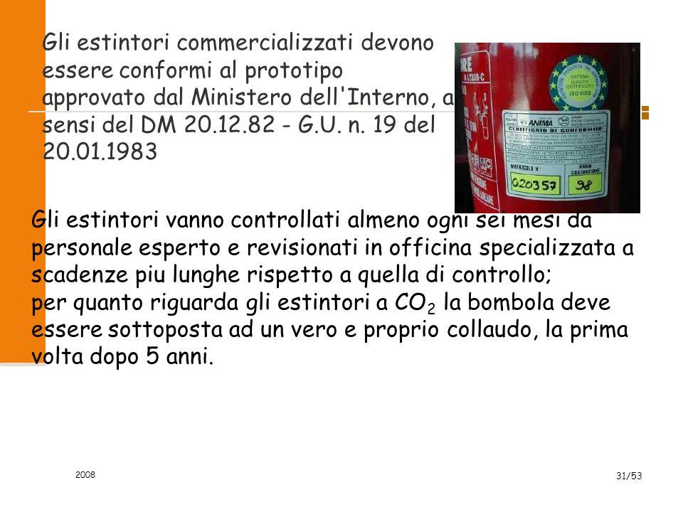 2008 31/53 Gli estintori commercializzati devono essere conformi al prototipo approvato dal Ministero dell'Interno, ai sensi del DM 20.12.82 - G.U. n.