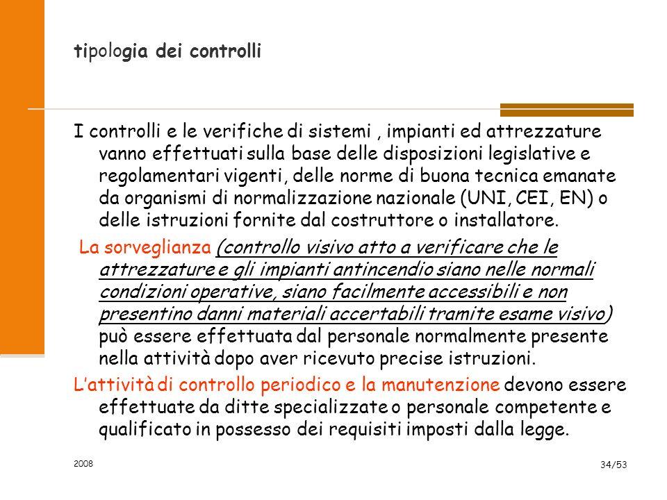 2008 34/53 tipologia dei controlli I controlli e le verifiche di sistemi, impianti ed attrezzature vanno effettuati sulla base delle disposizioni legi