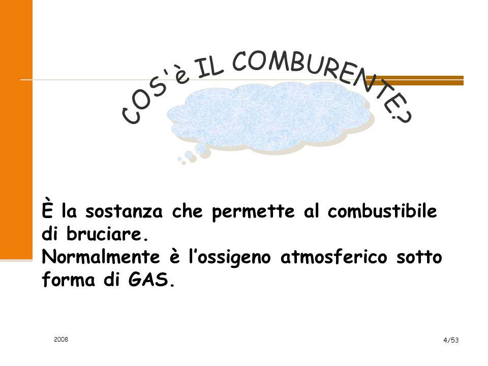 2008 4/53 È la sostanza che permette al combustibile di bruciare. Normalmente è l'ossigeno atmosferico sotto forma di GAS.