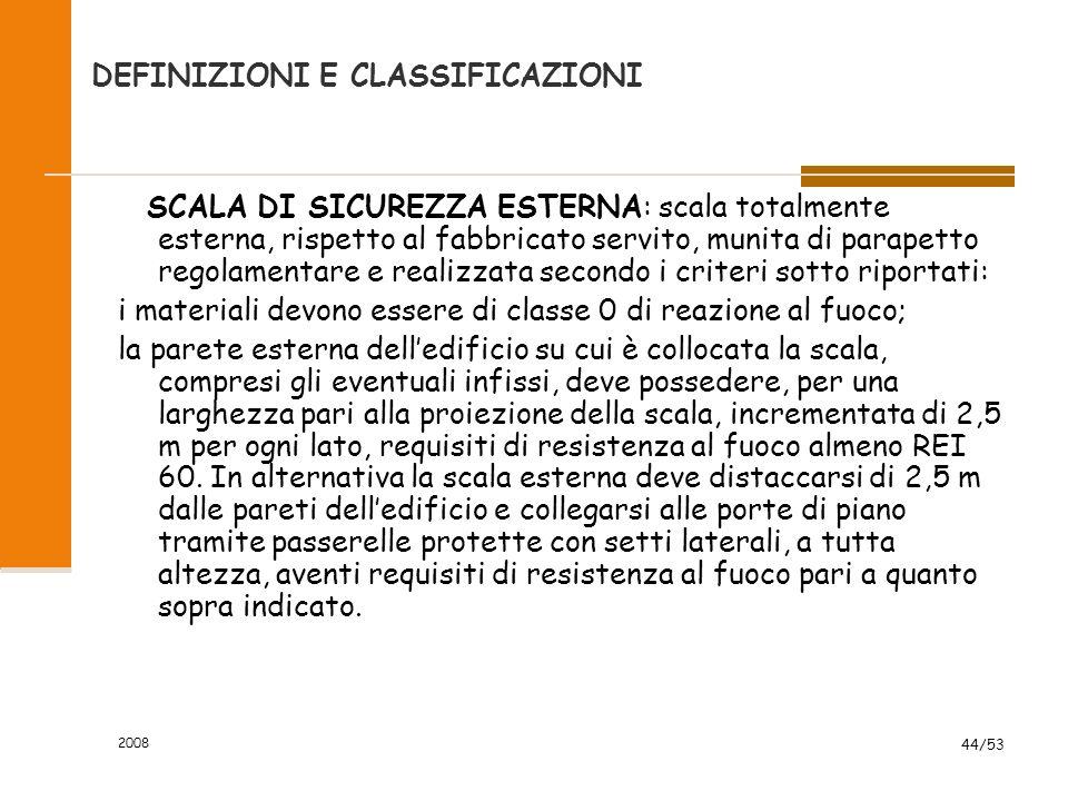 2008 44/53 SCALA DI SICUREZZA ESTERNA: scala totalmente esterna, rispetto al fabbricato servito, munita di parapetto regolamentare e realizzata second