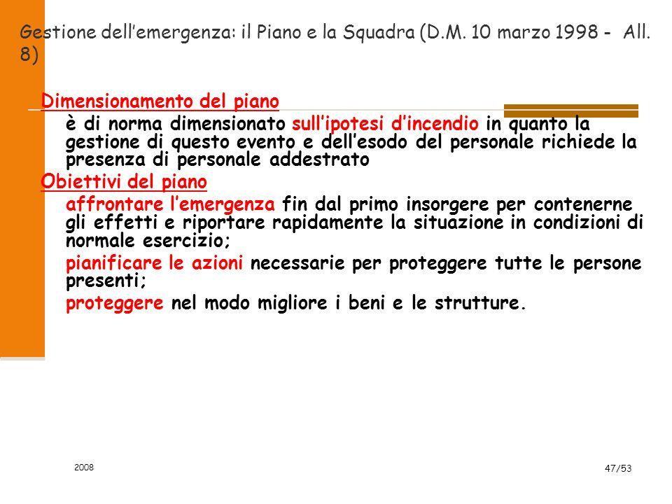 2008 47/53 Gestione dell'emergenza: il Piano e la Squadra (D.M. 10 marzo 1998 - All. 8) Dimensionamento del piano è di norma dimensionato sull'ipotesi