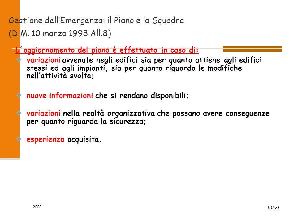 2008 51/53 Gestione dell'Emergenza: il Piano e la Squadra (D.M. 10 marzo 1998 All.8) L´aggiornamento del piano è effettuato in caso di:  variazioni a