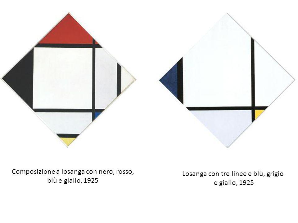 Composizione a losanga con nero, rosso, blù e giallo, 1925 Losanga con tre linee e blù, grigio e giallo, 1925