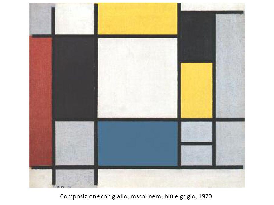 Composizione con giallo, rosso, nero, blù e grigio, 1920