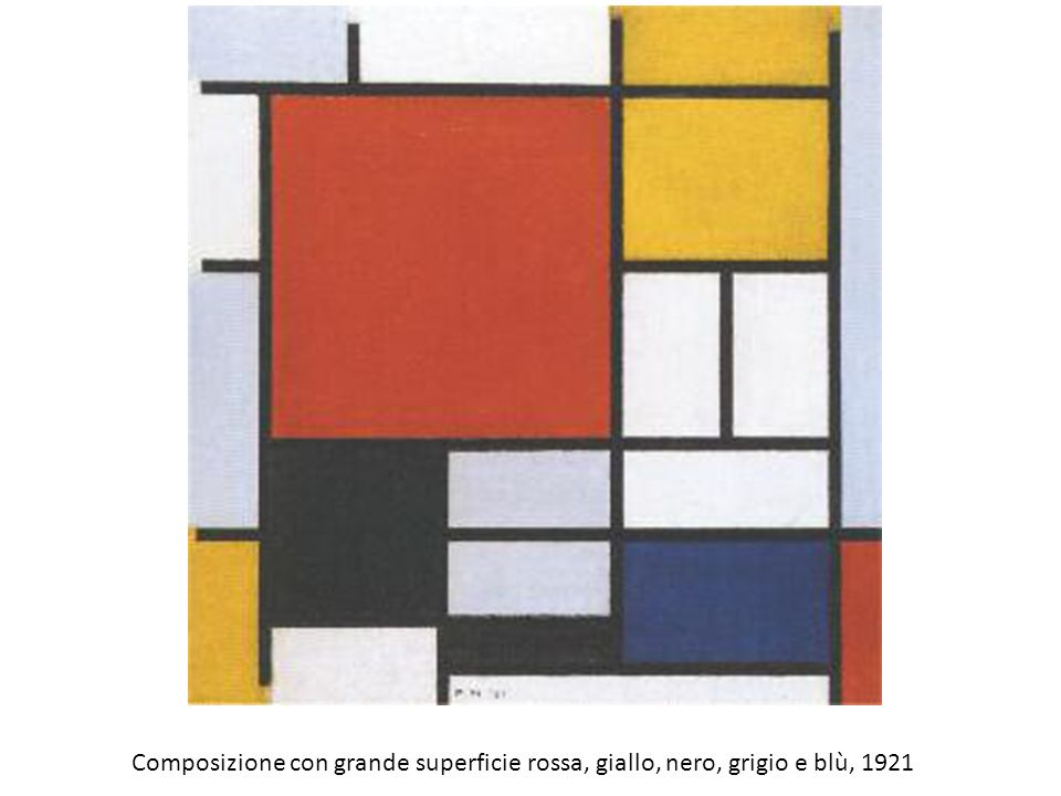 Composizione con grande superficie rossa, giallo, nero, grigio e blù, 1921