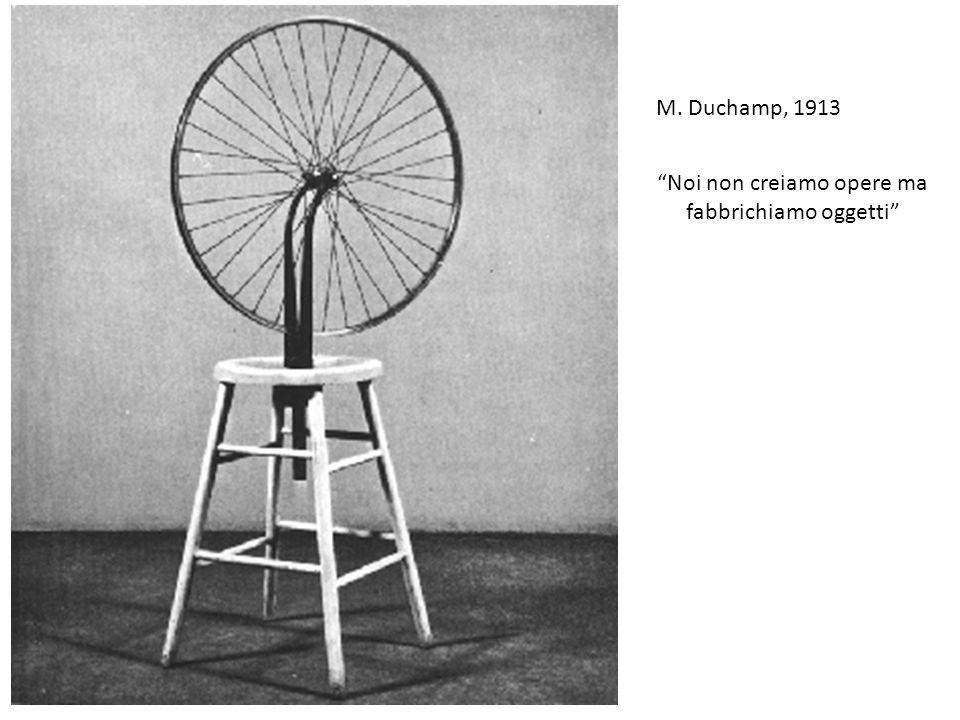 """M. Duchamp, 1913 """"Noi non creiamo opere ma fabbrichiamo oggetti"""""""