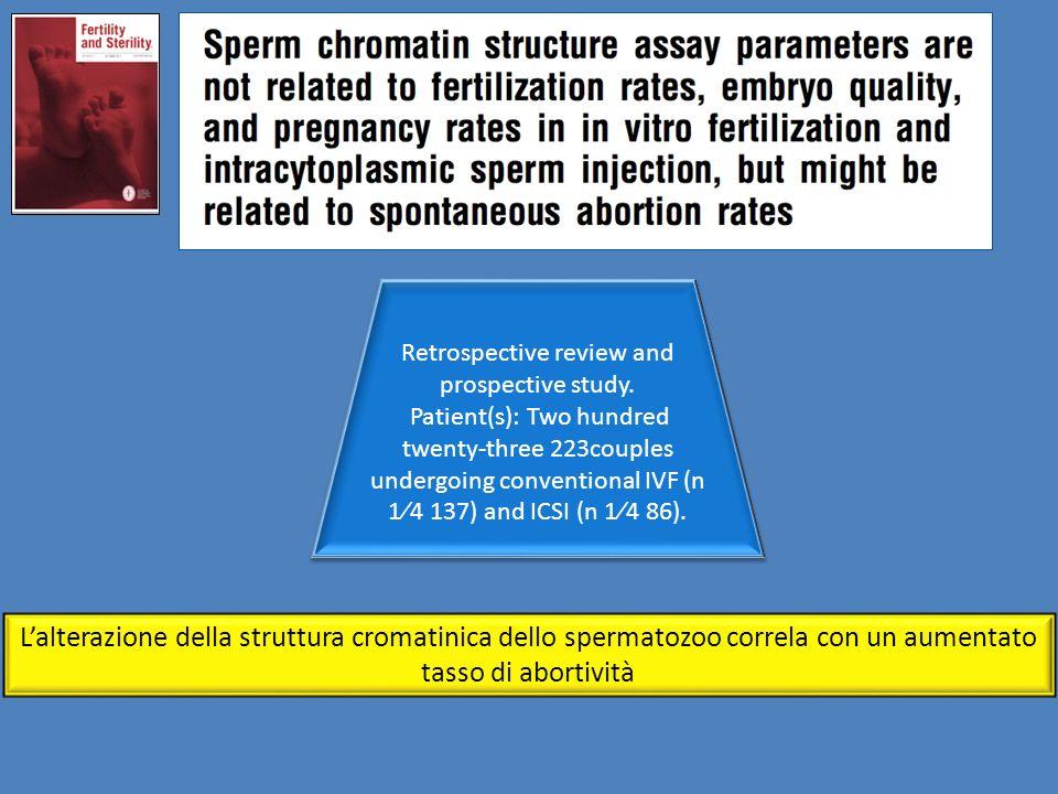 L'alterazione della struttura cromatinica dello spermatozoo correla con un aumentato tasso di abortività Retrospective review and prospective study. P