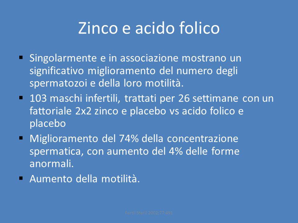 Zinco e acido folico  Singolarmente e in associazione mostrano un significativo miglioramento del numero degli spermatozoi e della loro motilità.  1