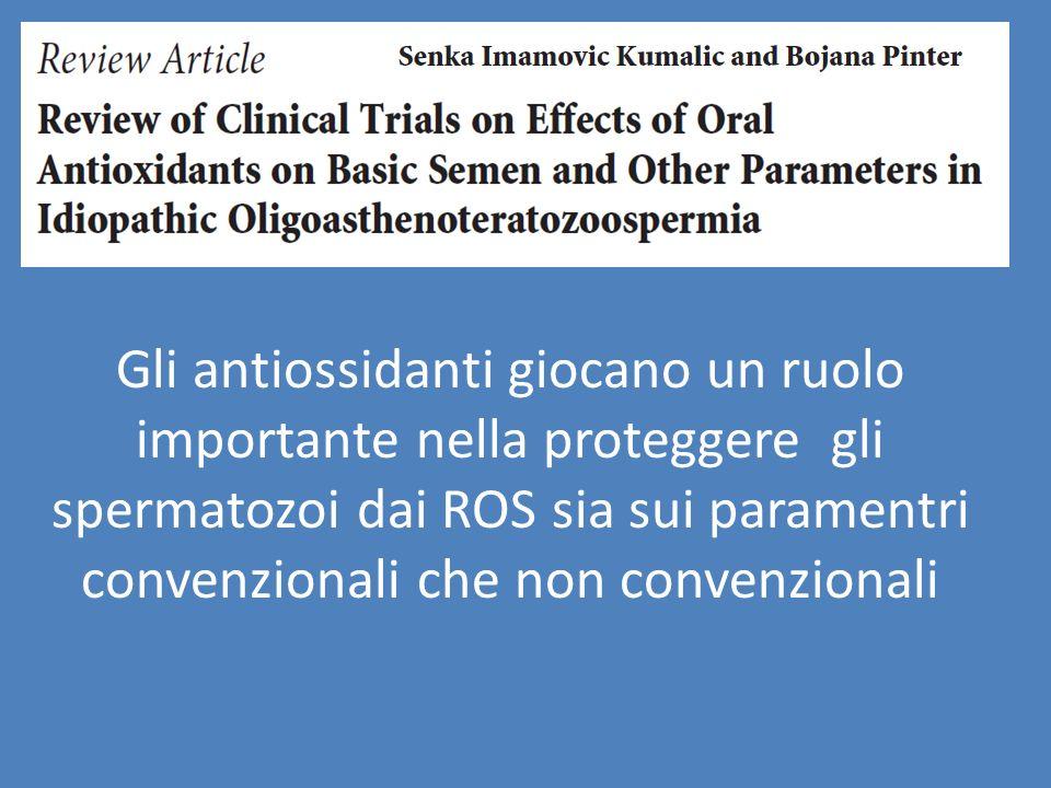 Gli antiossidanti giocano un ruolo importante nella proteggere gli spermatozoi dai ROS sia sui paramentri convenzionali che non convenzionali