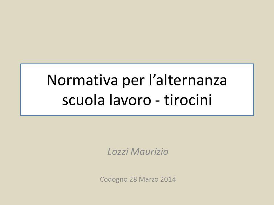 Normativa per l'alternanza scuola lavoro - tirocini Lozzi Maurizio Codogno 28 Marzo 2014