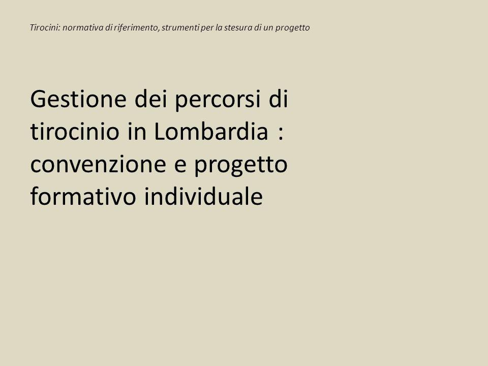 Tirocini: normativa di riferimento, strumenti per la stesura di un progetto Gestione dei percorsi di tirocinio in Lombardia : convenzione e progetto f
