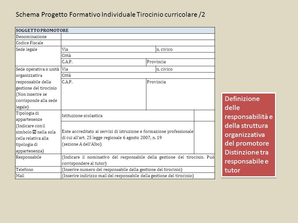 Schema Progetto Formativo Individuale Tirocinio curricolare /2 Definizione delle responsabilità e della struttura organizzativa del promotore Distinzi