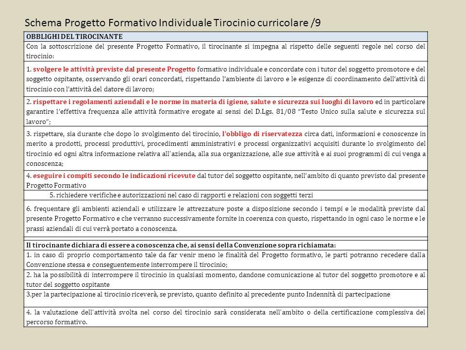 Schema Progetto Formativo Individuale Tirocinio curricolare /9 OBBLIGHI DEL TIROCINANTE Con la sottoscrizione del presente Progetto Formativo, il tirocinante si impegna al rispetto delle seguenti regole nel corso del tirocinio: 1.
