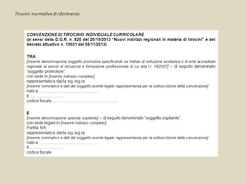 """Tirocini: normativa di riferimento CONVENZIONE DI TIROCINIO INDIVIDUALE CURRICOLARE (ai sensi della D.G.R. n. 825 del 26/10/2013 """"Nuovi indirizzi regi"""