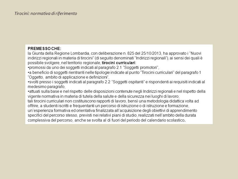 """Tirocini: normativa di riferimento PREMESSO CHE: la Giunta della Regione Lombardia, con deliberazione n. 825 del 25/10/2013, ha approvato i """"Nuovi ind"""