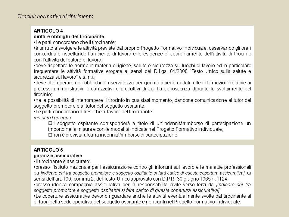 ARTICOLO 4 diritti e obblighi del tirocinante Le parti concordano che il tirocinante: è tenuto a svolgere le attività previste dal proprio Progetto Fo