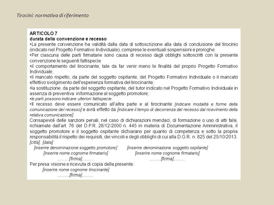 Tirocini: normativa di riferimento ARTICOLO 7 durata della convenzione e recesso La presente convenzione ha validità dalla data di sottoscrizione alla data di conclusione del tirocinio (indicato nel Progetto Formativo Individuale), comprese le eventuali sospensioni e proroghe.