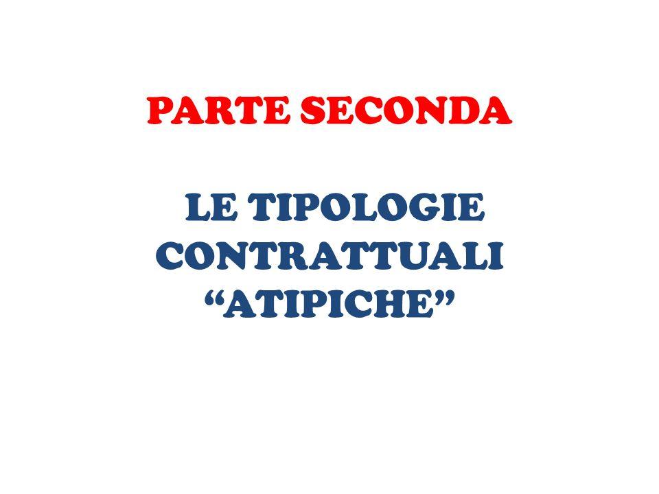 """PARTE SECONDA LE TIPOLOGIE CONTRATTUALI """"ATIPICHE"""""""