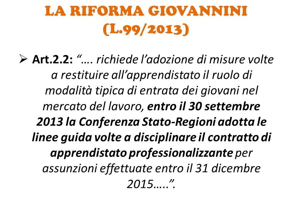 """LA RIFORMA GIOVANNINI (L.99/2013)  Art.2.2: """"…. richiede l'adozione di misure volte a restituire all'apprendistato il ruolo di modalità tipica di ent"""