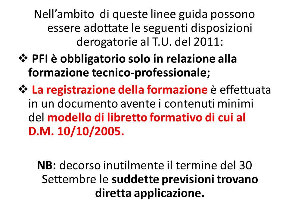 Nell'ambito di queste linee guida possono essere adottate le seguenti disposizioni derogatorie al T.U. del 2011:  PFI è obbligatorio solo in relazion
