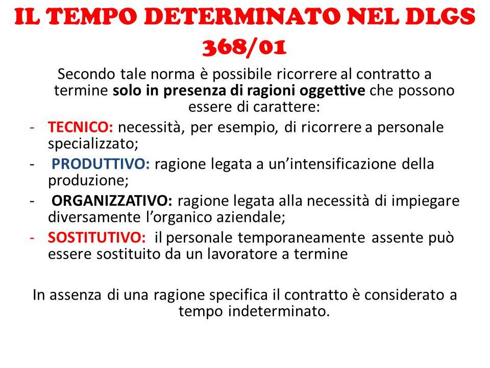 IL TEMPO DETERMINATO NEL DLGS 368/01 Secondo tale norma è possibile ricorrere al contratto a termine solo in presenza di ragioni oggettive che possono
