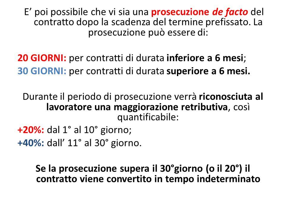 E' poi possibile che vi sia una prosecuzione de facto del contratto dopo la scadenza del termine prefissato. La prosecuzione può essere di: 20 GIORNI: