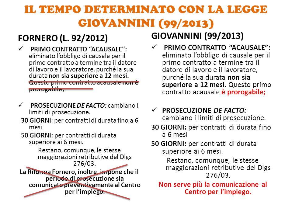 """IL TEMPO DETERMINATO CON LA LEGGE GIOVANNINI (99/2013) FORNERO (L. 92/2012) PRIMO CONTRATTO """"ACAUSALE"""": eliminato l'obbligo di causale per il primo co"""