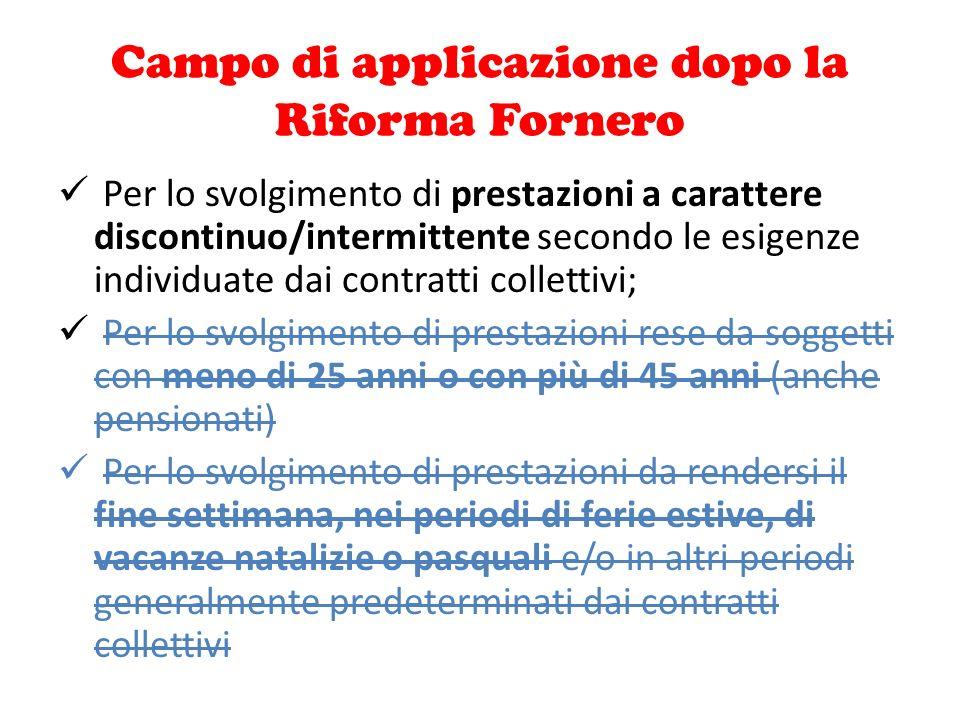 Campo di applicazione dopo la Riforma Fornero Per lo svolgimento di prestazioni a carattere discontinuo/intermittente secondo le esigenze individuate