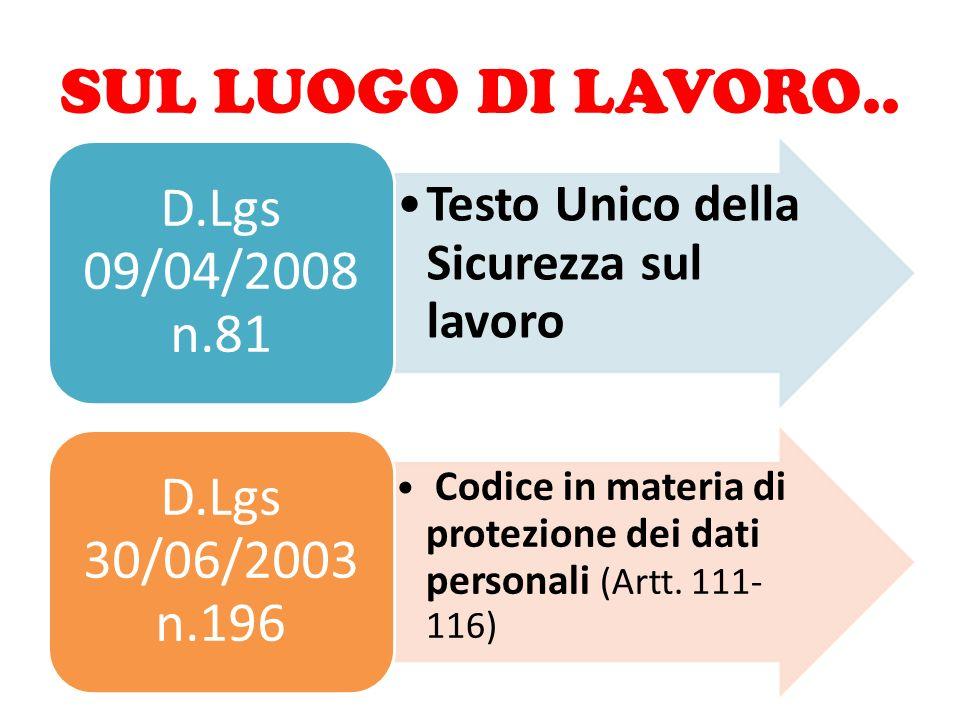 SUL LUOGO DI LAVORO.. Testo Unico della Sicurezza sul lavoro D.Lgs 09/04/2008 n.81 Codice in materia di protezione dei dati personali (Artt. 111- 116)