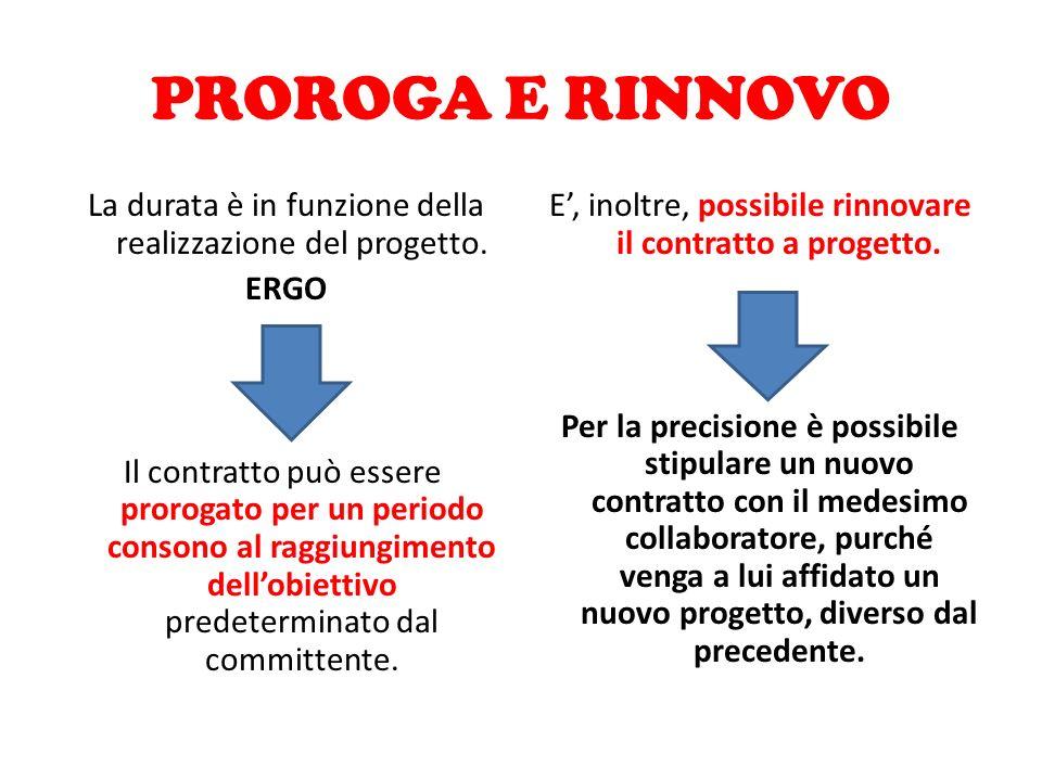 PROROGA E RINNOVO La durata è in funzione della realizzazione del progetto. ERGO Il contratto può essere prorogato per un periodo consono al raggiungi