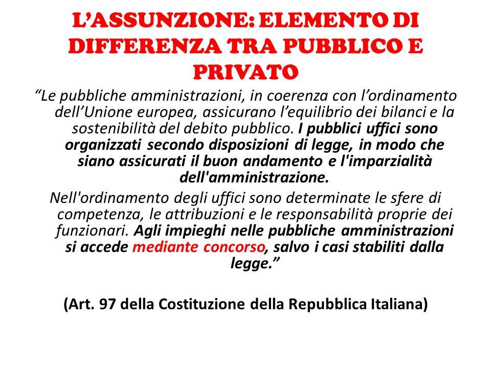 """L'ASSUNZIONE: ELEMENTO DI DIFFERENZA TRA PUBBLICO E PRIVATO """"Le pubbliche amministrazioni, in coerenza con l'ordinamento dell'Unione europea, assicura"""