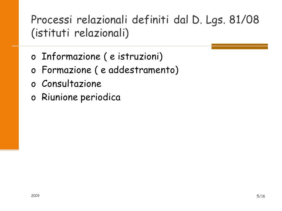 2009 5/16 Processi relazionali definiti dal D. Lgs. 81/08 (istituti relazionali) oInformazione ( e istruzioni) oFormazione ( e addestramento) oConsult