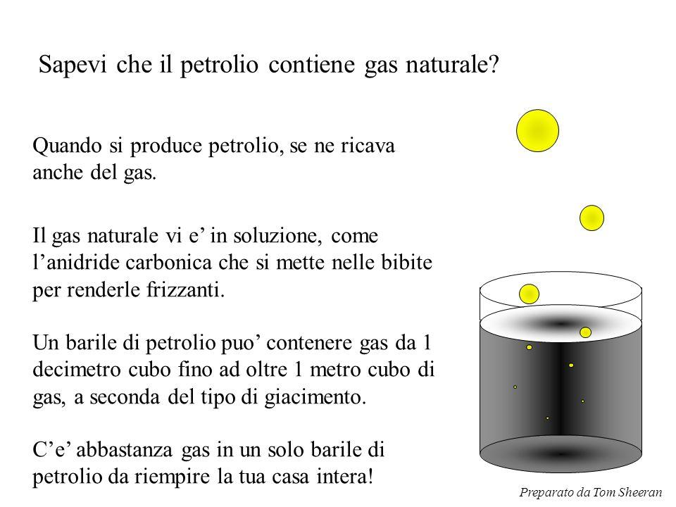 Sapevi che il petrolio contiene gas naturale? Il gas naturale vi e' in soluzione, come l'anidride carbonica che si mette nelle bibite per renderle fri