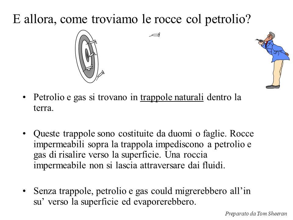 E allora, come troviamo le rocce col petrolio? Petrolio e gas si trovano in trappole naturali dentro la terra. Queste trappole sono costituite da duom