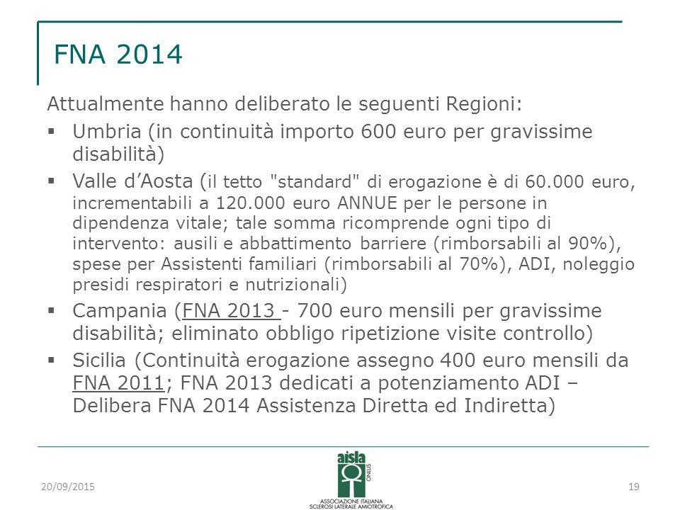 FNA 2014 Attualmente hanno deliberato le seguenti Regioni:  Umbria (in continuità importo 600 euro per gravissime disabilità)  Valle d'Aosta ( il te