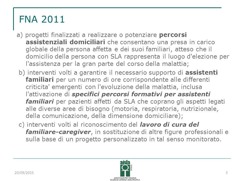 FNA 2011 a) progetti finalizzati a realizzare o potenziare percorsi assistenziali domiciliari che consentano una presa in carico globale della persona