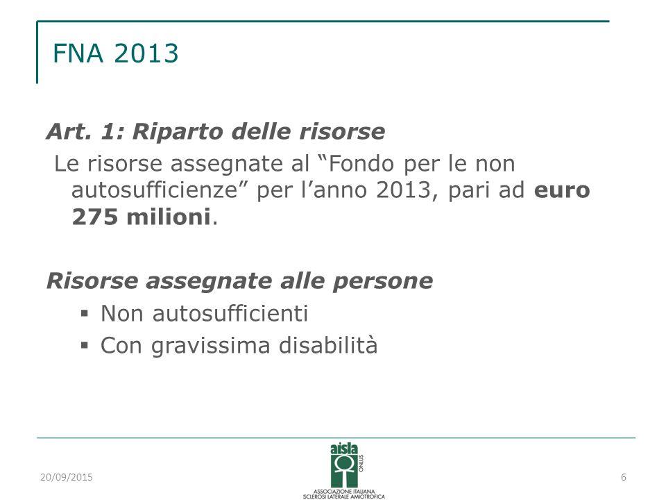 """FNA 2013 Art. 1: Riparto delle risorse Le risorse assegnate al """"Fondo per le non autosufficienze"""" per l'anno 2013, pari ad euro 275 milioni. Risorse a"""