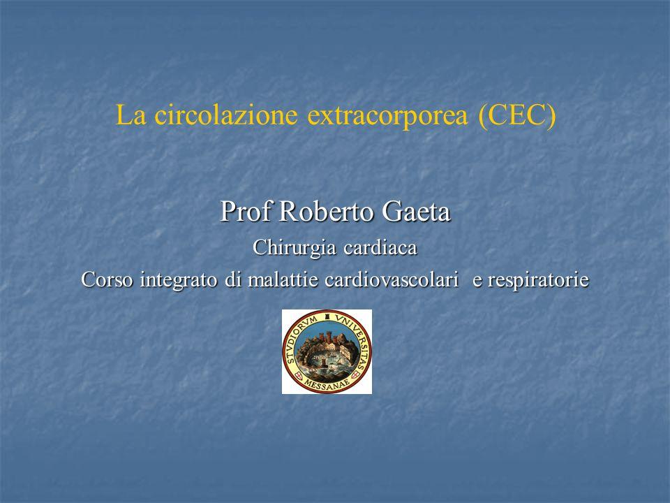 La circolazione extracorporea (CEC) Prof Roberto Gaeta Chirurgia cardiaca Corso integrato di malattie cardiovascolari e respiratorie