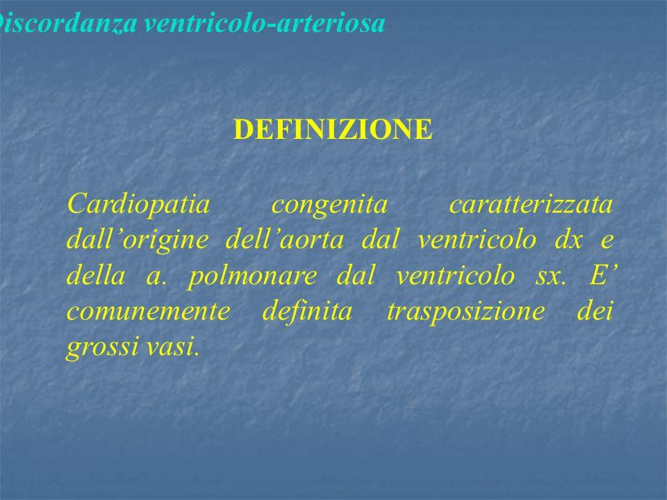 Discordanza ventricolo-arteriosa DEFINIZIONE Cardiopatia congenita caratterizzata dall'origine dell'aorta dal ventricolo dx e della a.