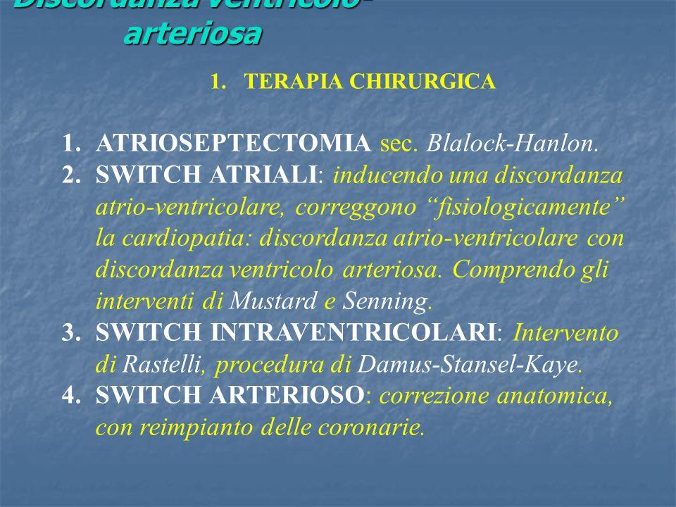 Discordanza ventricolo- arteriosa 1.TERAPIA CHIRURGICA 1.ATRIOSEPTECTOMIA sec. Blalock-Hanlon. 2.SWITCH ATRIALI: inducendo una discordanza atrio-ventr