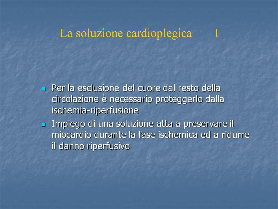 La soluzione cardioplegica I Per la esclusione del cuore dal resto della circolazione è necessario proteggerlo dalla ischemia-riperfusione Per la esclusione del cuore dal resto della circolazione è necessario proteggerlo dalla ischemia-riperfusione Impiego di una soluzione atta a preservare il miocardio durante la fase ischemica ed a ridurre il danno riperfusivo Impiego di una soluzione atta a preservare il miocardio durante la fase ischemica ed a ridurre il danno riperfusivo