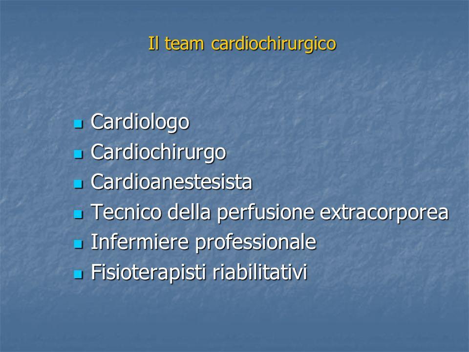 Cardiologo Cardiologo Cardiochirurgo Cardiochirurgo Cardioanestesista Cardioanestesista Tecnico della perfusione extracorporea Tecnico della perfusione extracorporea Infermiere professionale Infermiere professionale Fisioterapisti riabilitativi Fisioterapisti riabilitativi