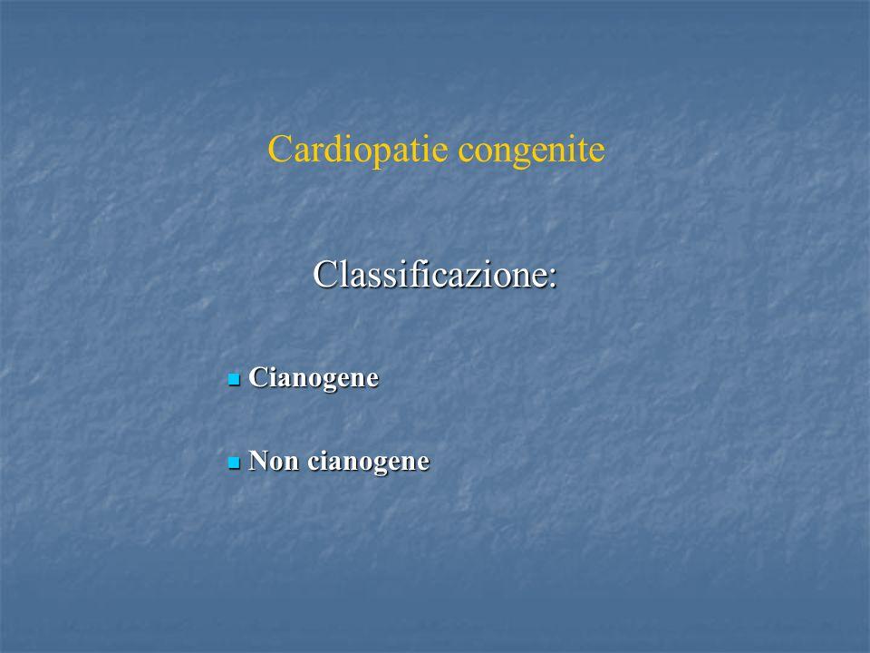 Cardiopatie congenite Classificazione: Cianogene Cianogene Non cianogene Non cianogene