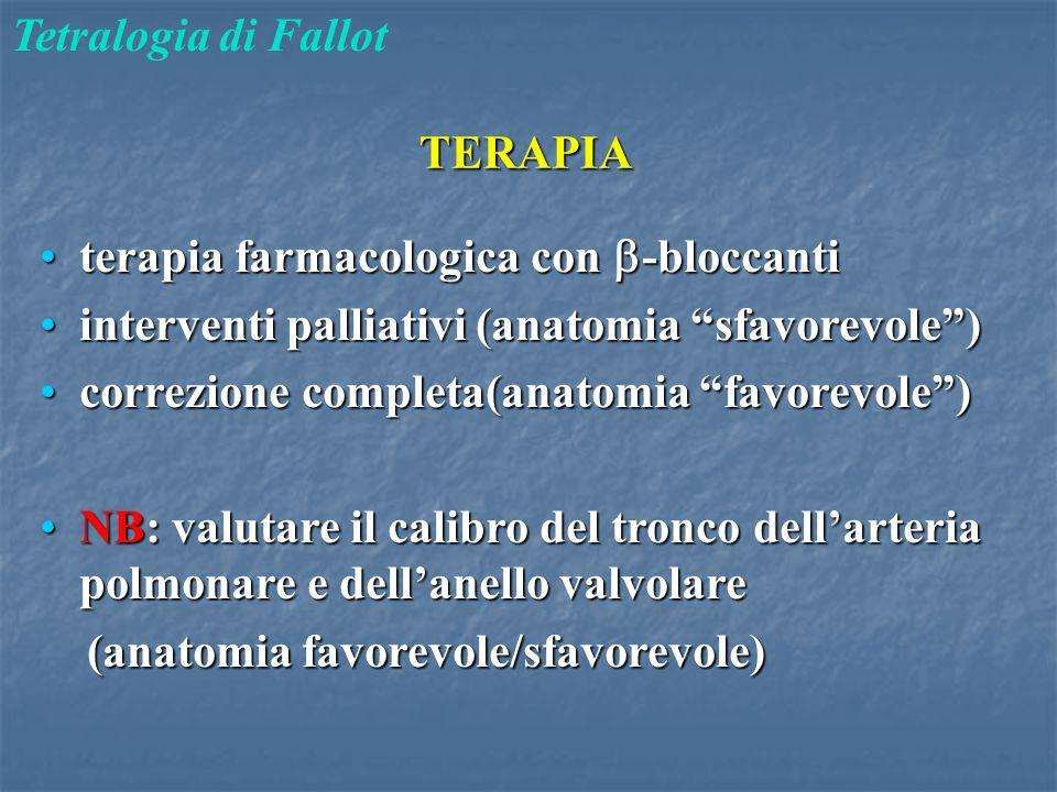 """TERAPIA Tetralogia di Fallot terapia farmacologica con  -bloccantiterapia farmacologica con  -bloccanti interventi palliativi (anatomia """"sfavorevole"""