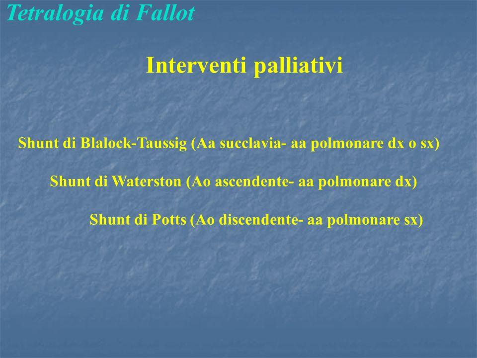 Tetralogia di Fallot Interventi palliativi Shunt di Blalock-Taussig (Aa succlavia- aa polmonare dx o sx) Shunt di Waterston (Ao ascendente- aa polmonare dx) Shunt di Potts (Ao discendente- aa polmonare sx)