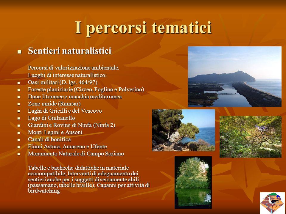 I percorsi tematici Sentieri naturalistici Sentieri naturalistici Percorsi di valorizzazione ambientale. Luoghi di interesse naturalistico: Oasi milit