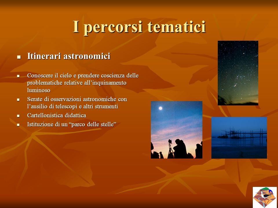 I percorsi tematici Itinerari astronomici Itinerari astronomici Conoscere il cielo e prendere coscienza delle problematiche relative all'inquinamento