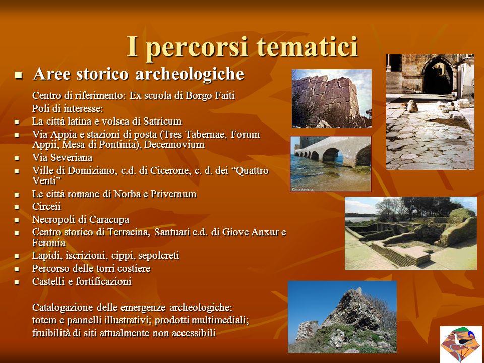 I percorsi tematici Aree storico archeologiche Aree storico archeologiche Centro di riferimento: Ex scuola di Borgo Faiti Poli di interesse: La città